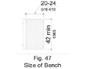 Figure 47 - Bench size shown in plan view to be 20 inches minimum to 24 inches maximum wide and 42 inches long minimum.