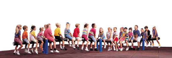 photo of children on seesaw-type single play component
