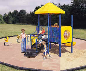 photo of a play area with composite structure and 2 spring riders