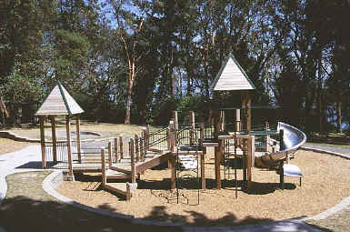 photo of composite play structure with accessible routes within play area boundary