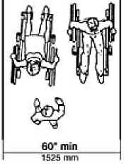 plan view illustration of two persons using wheelchairs passing is space that is at least 60 inches (1525 mm) wide