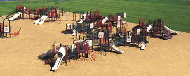 photo of a play area with more than 20 play components