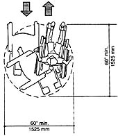 plan view of a turning circle with a 60 inch (1525 mm) diameter