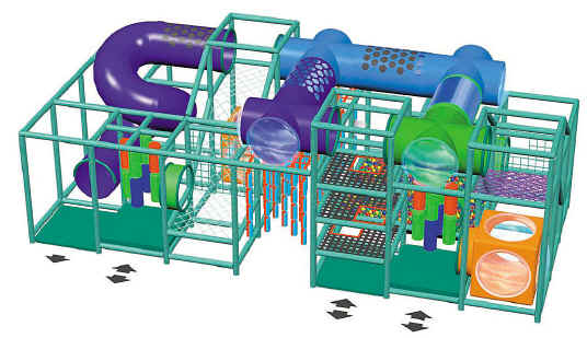 Illustration of a soft contained play structure with several entry and exit points