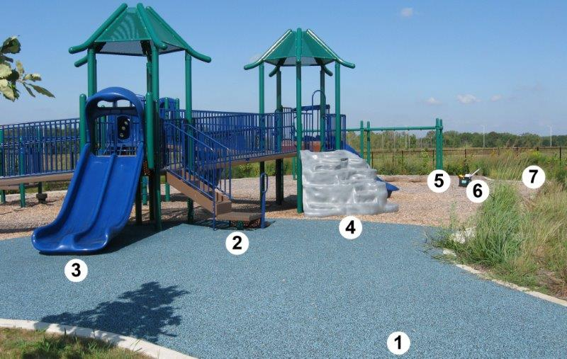 A playground has seven numbered locations from the entrance to the composite structure and ground level activities.
