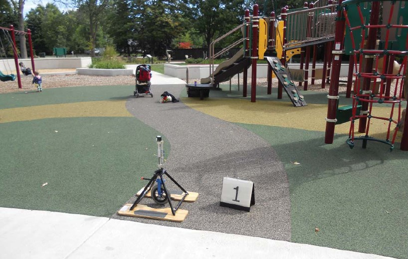 A rotational penetrometer is placed at the entry of the accessible route to the playground consisting of poured-in-place rubber.