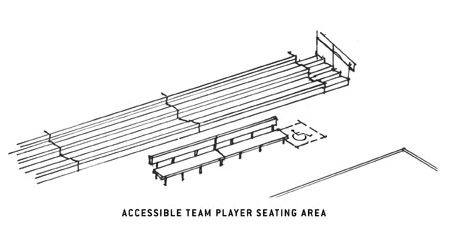 illustration of a team seating area with a wheelchair space