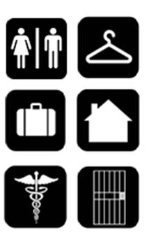 icons representing toilet/bathing facilities, dressing rooms, transient lodging, dwelling units, medical care facilities, and prison cells