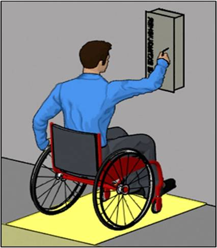 Person using wheelchair making forward approach to fire extinguisher cabinet