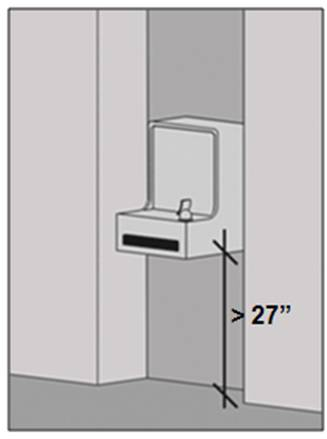 Recessed drinking fountain with leading edge above 2 inches AFF