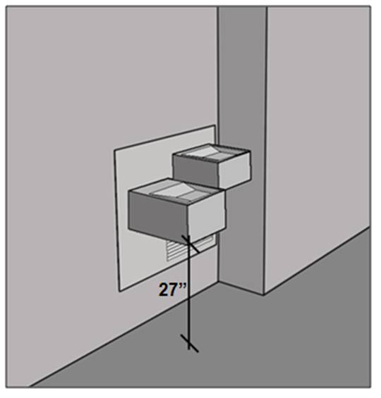 Hi-lo drinking fountain with higher unit enclosed by lower unit on one site and a wall bump-out on the other