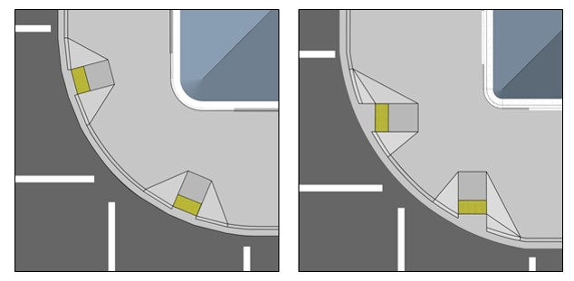 One figures shows curb ramps at corner with wide radius that are aligned with the curb line and another where the curb ramps or more directionally oriented to the crosswalk.