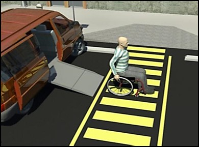 Person using wheelchair exiting van with ramp parking in accessible van space.