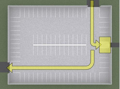 Plan view of garage with the following highlighted: vehicular route from entrance to van space, van space and access aisle, and vehicular route from van space to exit.