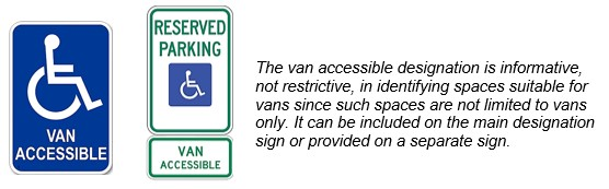 "Sign with International Symbol of Accessibility and term ""van accessible."" Another sign contains the International Symbol of Accessibility and ""reserved parking"" with a separate sign below station ""van accessible."""