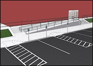 Accessible parking spaces located at entry point of ramp to building entrance