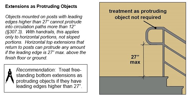 "Top horizontal handrail extension with P-shaped return to post; bottom edge of return is 27"" high max. Notes: treatment as protruding object not required. Objects mounted on posts with leading edges higher than 27"" cannot protrude into circulation paths more than 12"" (§307.3). With handrails, this applies only to horizontal portions, not sloped portions. Horizontal top extensions that return to posts can protrude any amount if the leading edge is 27"" max. above the finish floor or ground. Recommendation: Treat free-standing bottom extensions as protruding objects if they have leading edges higher than 27""."