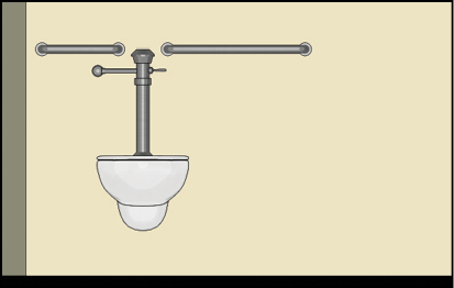 Water closet with rear grab bar that is split because of the location of flush controls