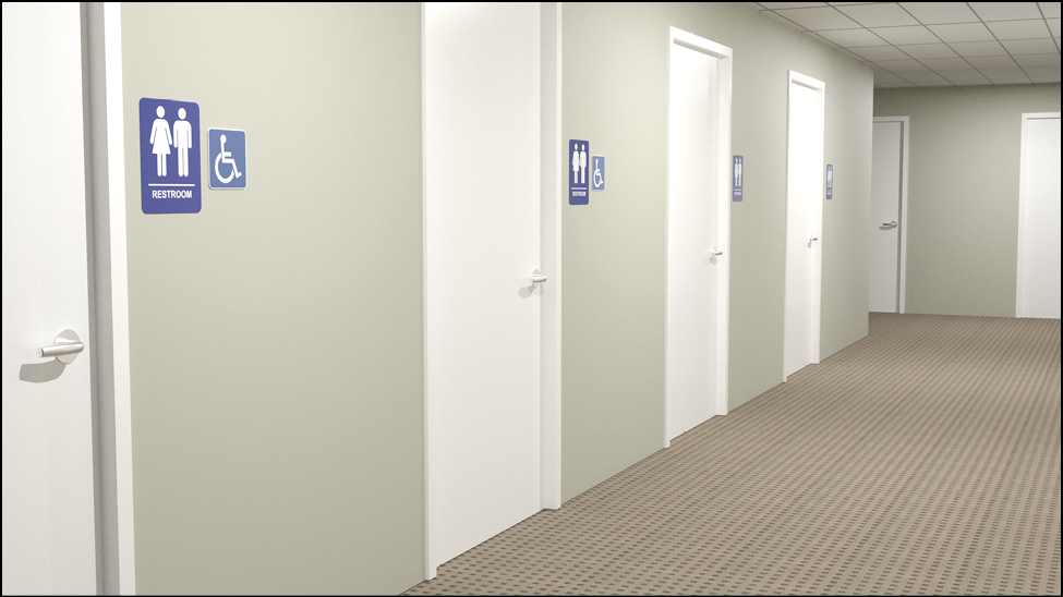 Single-user restrooms along a corridor