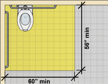Water closet in corner with clearance 60 inches wide min. and 56 inches min. deep