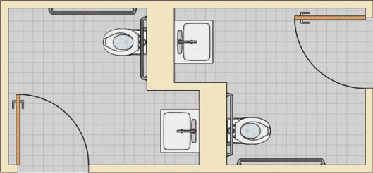 Two single-user toilet rooms located back-to-back with recessed lavatories next to the water closet.