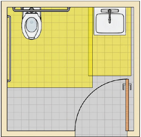 Toilet room with a water closet and an adjacent lavatory with a door opposite the lavatory that swings in. The door does not swing into the clearances at the water closet and lavatory.