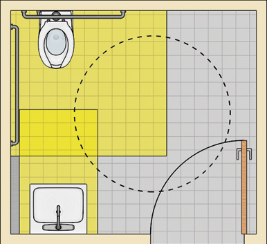Toilet room with a water closet in a back corner and a lavatory on the front wall opposite the toilet. The water closet and lavatory clearances partly overlap. The door is located next to the lavatory and swings in. It swings into turning circle which overlaps a portion of the fixture clearances.
