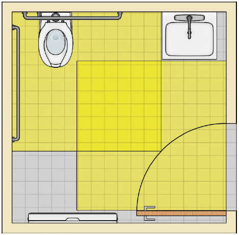 Toilet room with water closet and adjacent lavatory and a baby-changing table on the opposite wall. The table does not overlap fixture clearances or the door maneuvering clearance when stowed