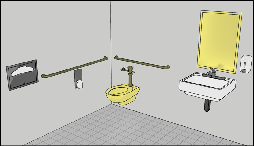 Restroom with water closet and mirror above lavatory highlighted