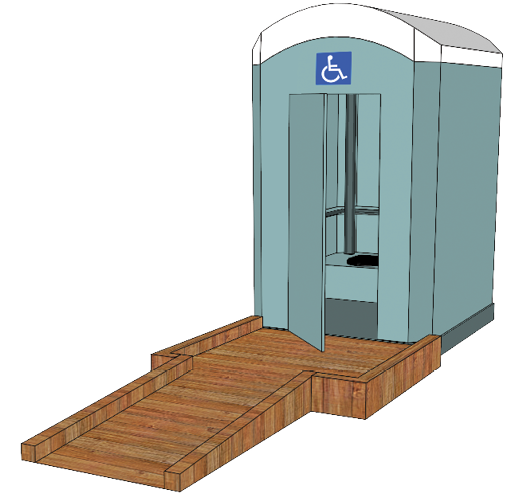 Portable toilet with ramp to entrance and labelled by the ISA