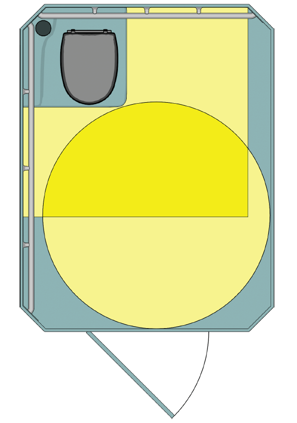 Plan view of portable toilet with water closet in corner with side and rear grab bars; water closet clearance and turning space highlighted.