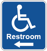 restroom sign with arrow and ISA