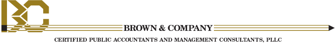 Brown & Company header. Certified Public Accountants and Management Consulttants, PLLC