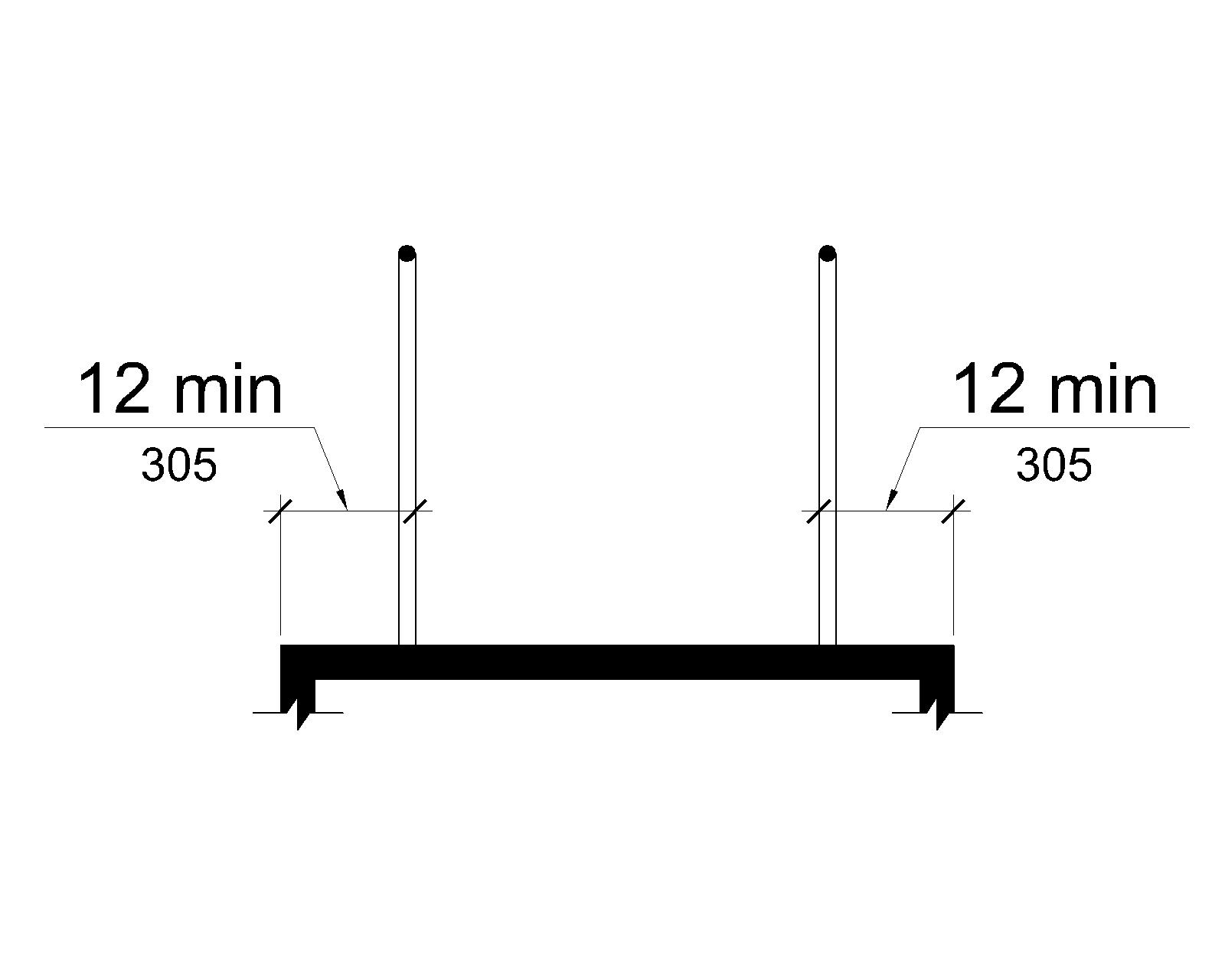 The cross section of a ramp with handrails is shown where the ramp surface extends 12 inches (305 mm) minimum to the outside of the handrails.