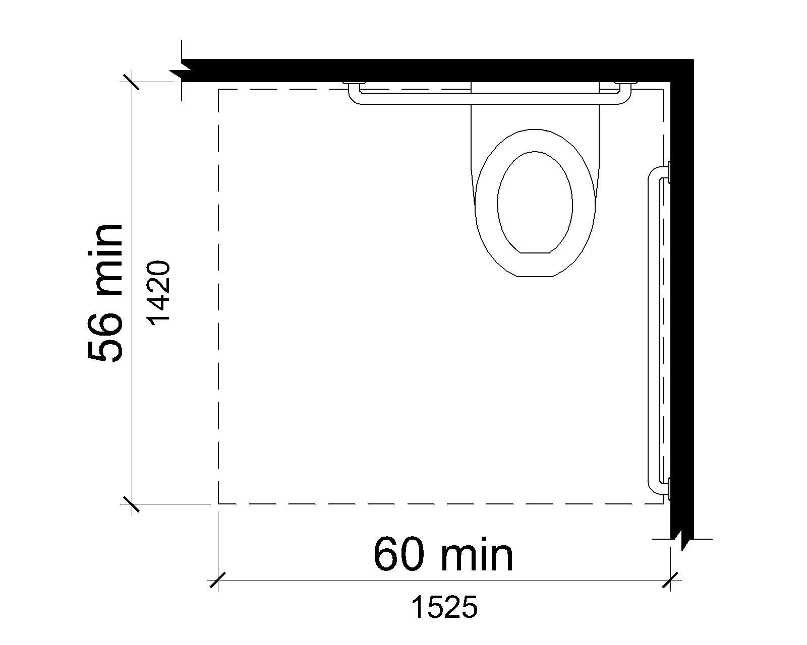 Figure V604.3.1 Clearance Around Water Closet. The clearance around a water closet is shown in plan view to be 60 inches (1525 mm) wide minimum and 56 inches (1420 mm) deep minimum.