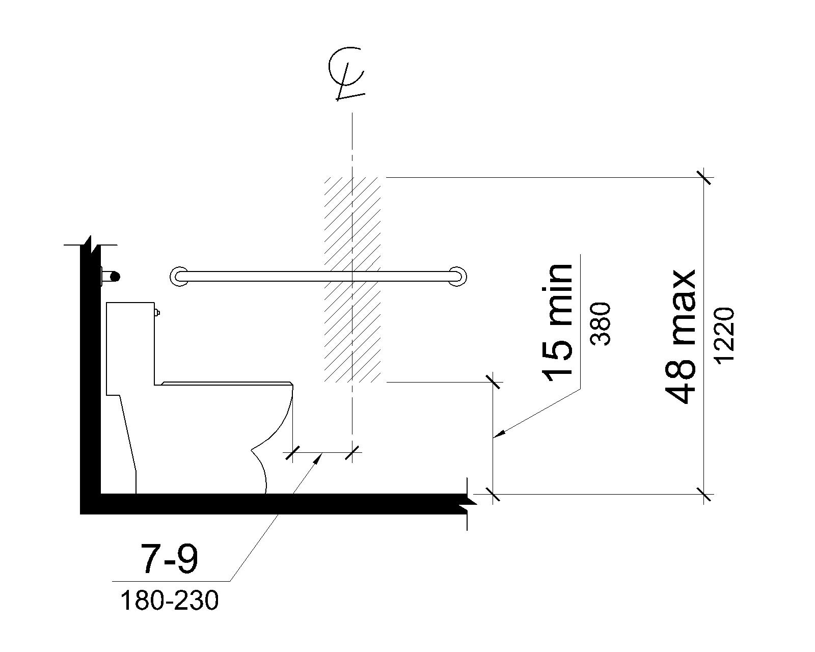 Elevation drawing shows the centerline of the toilet paper dispenser to be 7 to 9 inches (180 to 230 mm) in front of the water closet. The outlet of the dispenser is 15 inches (380 mm) minimum and 48 inches (1220 mm) maximum above the deck surface.