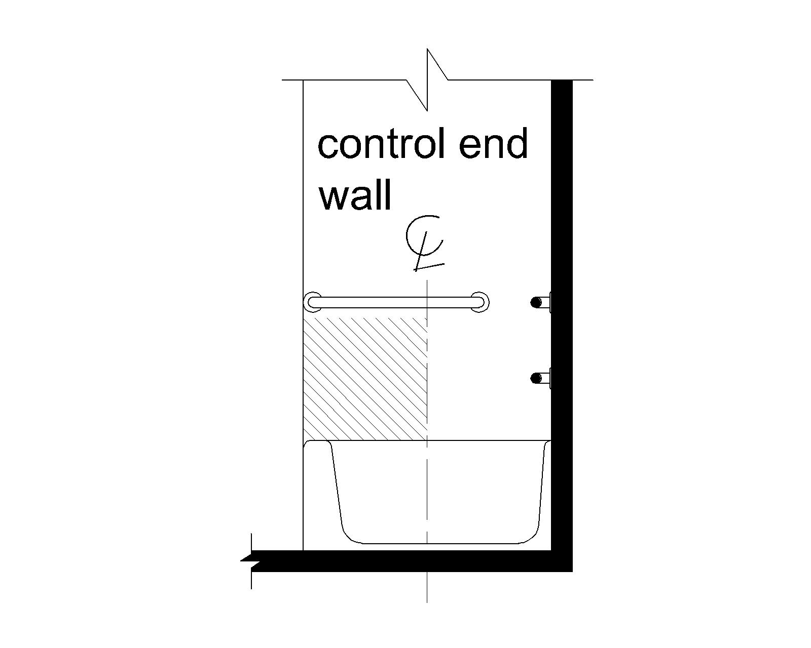 Elevation drawing shows the location of controls above the tub rim and below the grab bar and between the front edge of the tub and the tub centerline.