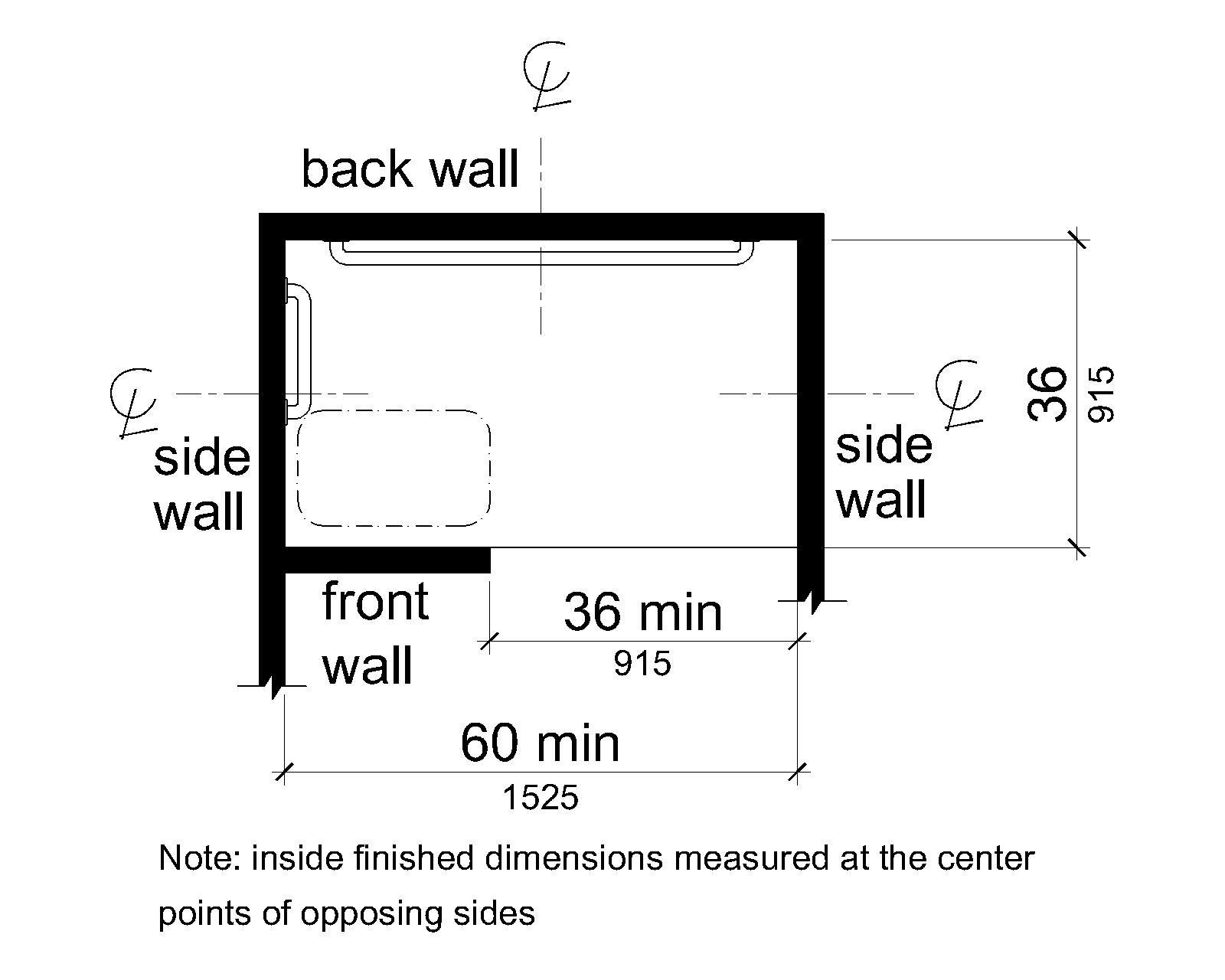 A plan view shows the shower compartment is 36 inches (915 mm) wide absolute and 60 inches (1525 mm) deep minimum. A 36 inch (915 mm) wide minimum entry is provided on one long wall. A seat is provided adjacent to the entry on the same wall.