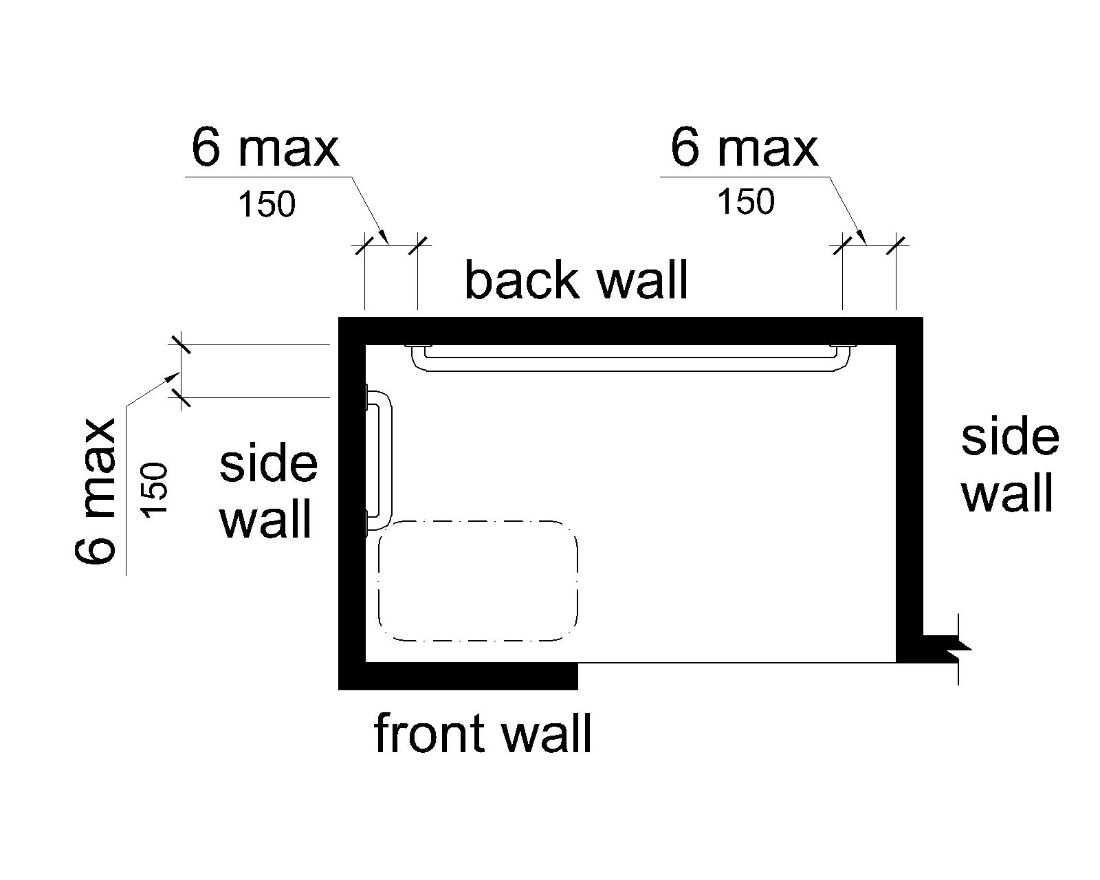 This figure shows an alternate roll-in shower with a seat. A grab bar extends on the wall opposite the seat and is 6 inches (150 mm) maximum from adjacent walls. Another grab bar is mounted on the side wall adjacent to the seat; this grab bar does not extend over the seat and is 6 inches (150 mm) maximum from the back wall.