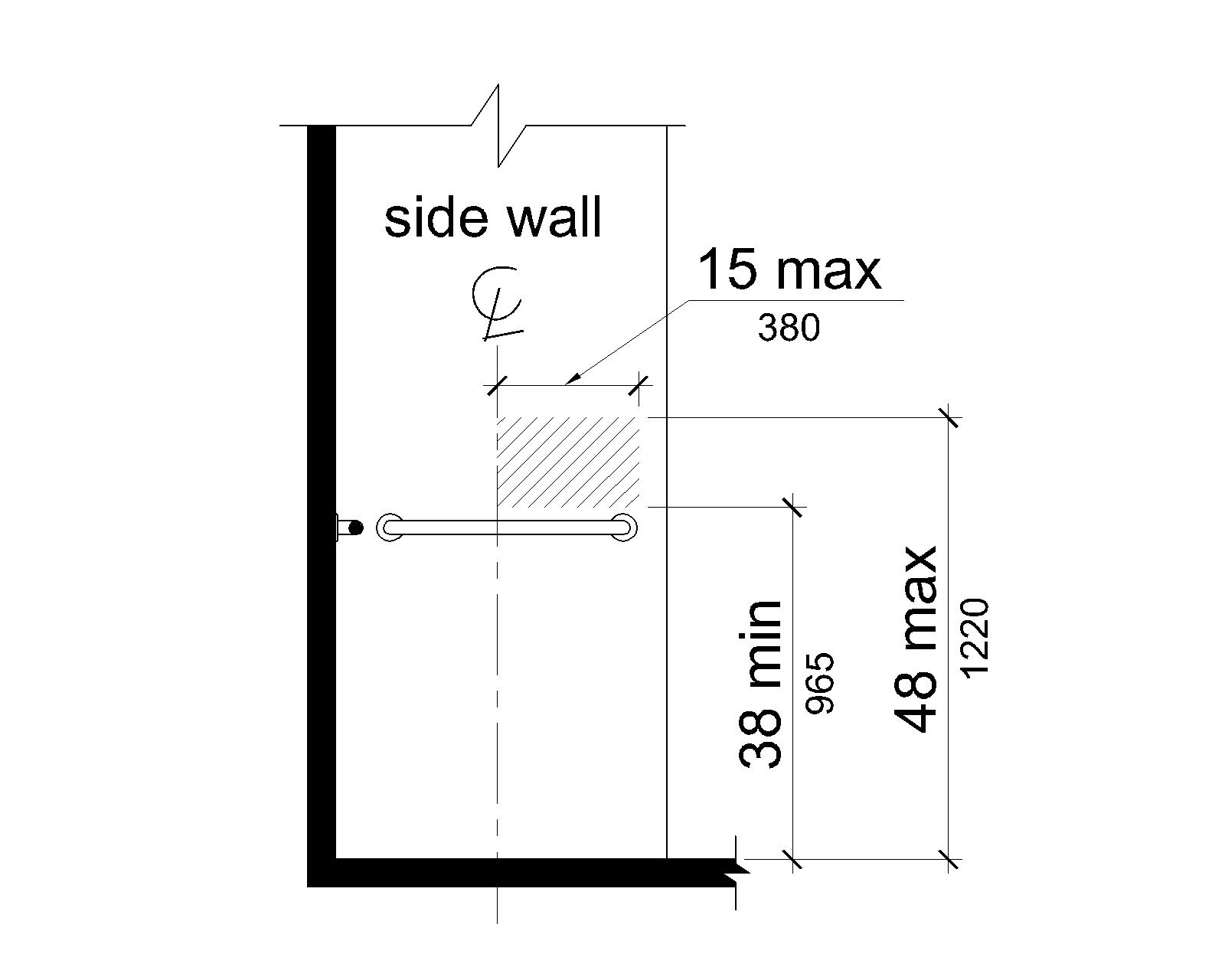 The area for controls, faucets and shower spray units is located 38 inches (965 mm) minimum to 48 inches (1220 mm) maximum above the shower deck surface on the control wall 15 inches (380 mm) maximum from the centerline of the seat, toward the shower opening.