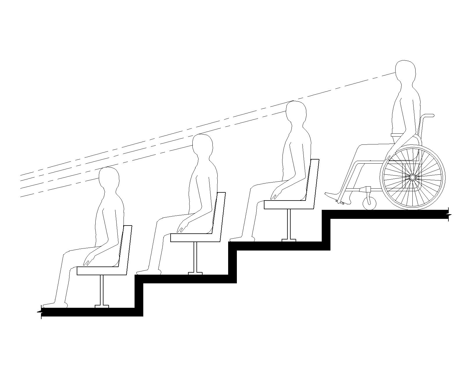 Elevation drawing shows a person using a wheelchair on an upper level of tiered seating having a line of sight over the heads of spectators seated in front.