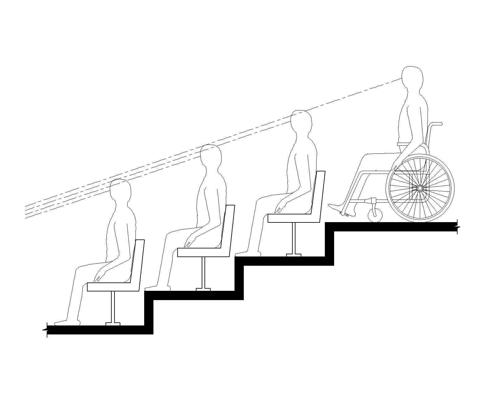 Elevation drawing shows a person using a wheelchair on an upper level of tiered seating having a line of sight between the heads of spectators seated in front.