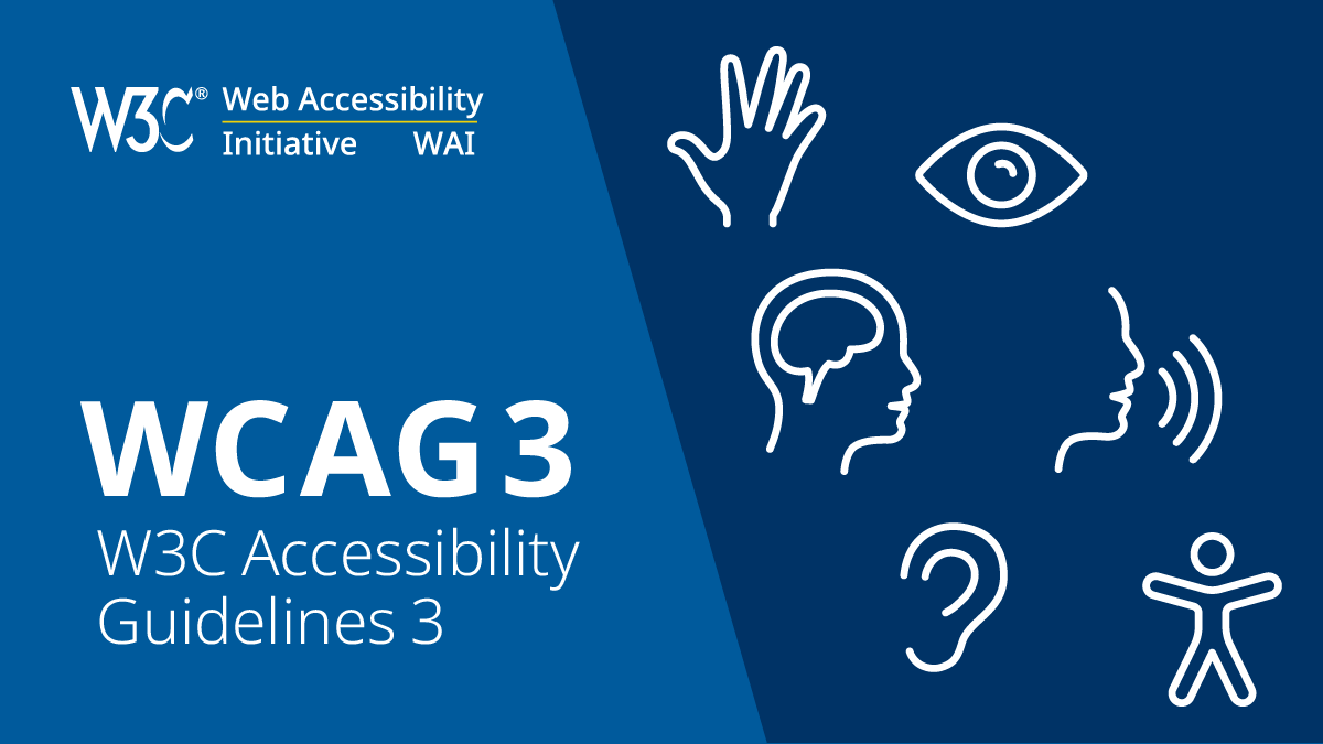 Screenshot showing the w3c logo and the title of the WCAG 3 W3C Accessibility Guidelines 3